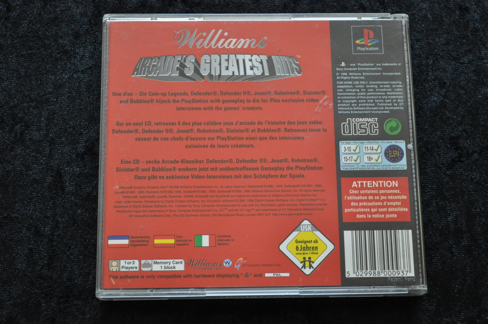 Williams Arcades Greatest Hits Playstation 1 PS 1