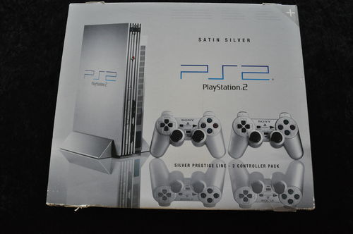 Playstation 2 Console Satin Silver prestige Line 2 Controller Pack