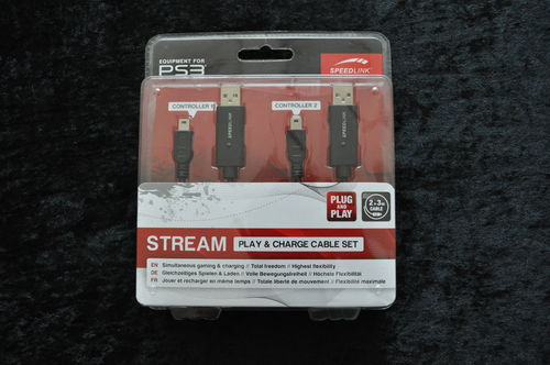 SPEEDLINK Stream Play & Charge Cable Set for PS3 NEW